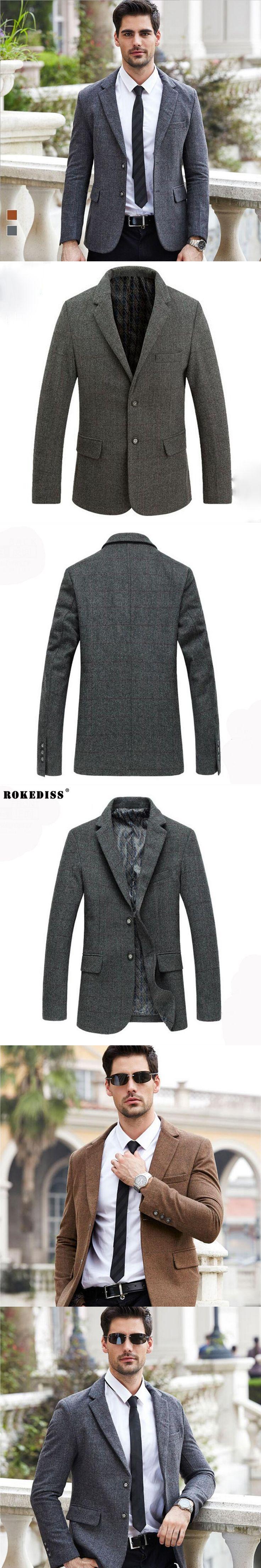ROKEDISS 2017 Men's Jackets Coat Autumn Winter Long Woolen Snow Coat For Men Wool Jackets