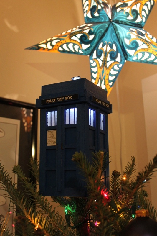 My husband challenged me to make a TARDIS tree topper.  I saw his challenge, then made it light up.: Xmas Trees, Trees Toppers, Crafty Tardis, Husband Trees, Husband Challenges, Aaaaand Tardis, Toppers Artemisa, Tardis Trees, Funky Christmas