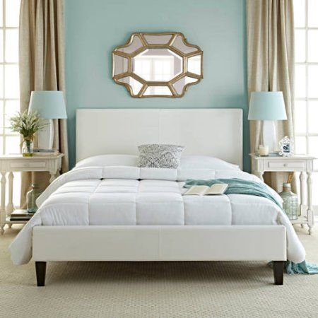 Premier Zurich Faux Leather Queen White Upholstered Platform Bed Frame with Bonus Base Wooden Slat System