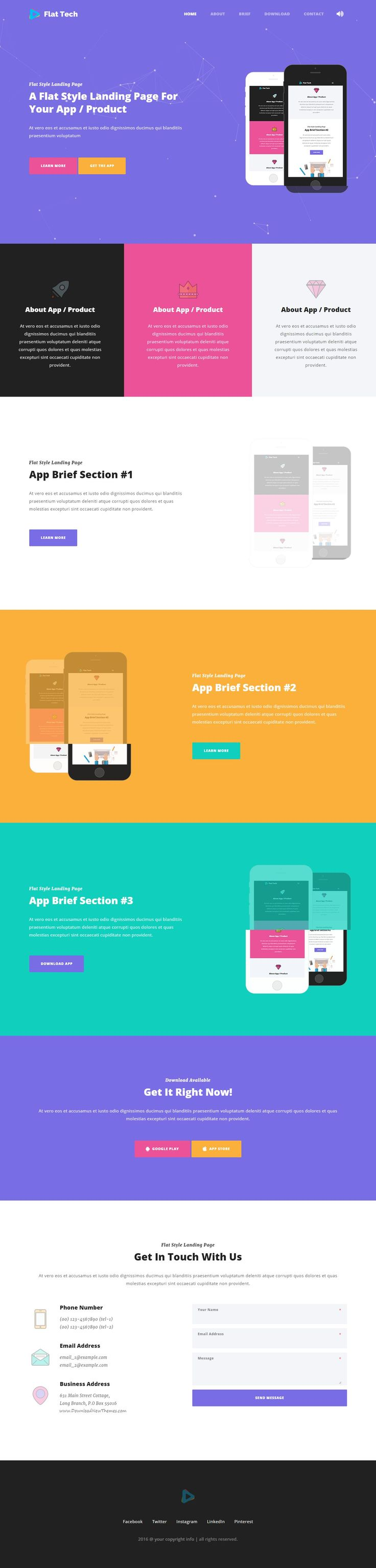 Flat Tech - a very simple and flat style one page landing page #template for…