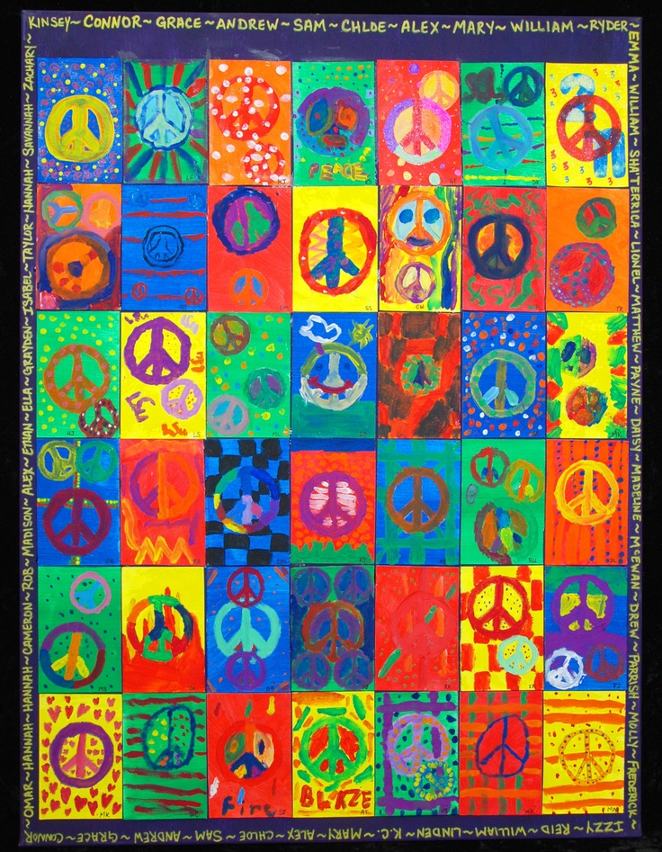 MLK Idea: Peace!  3rd graders painted peace signs on individual canvases which were compiled into a single 30x40 work of art for school auction.