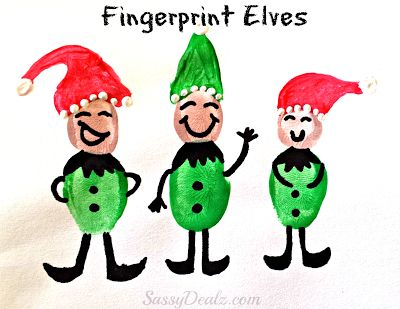 Fingerprint Elves Craft for Kids - Super cute christmas craft for kids #Elf | CraftyMorning.com