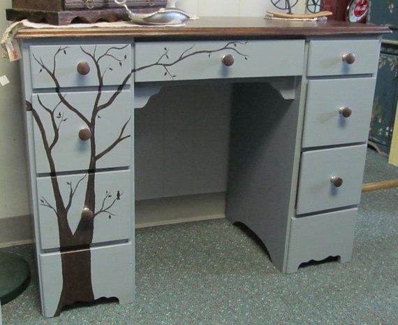 Mid century modern Whimsical Tree Desk Grey by www.etsy.com/shop/WeHaveAGreatNotion, $225.00