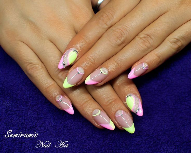 French nails, pink, neon green