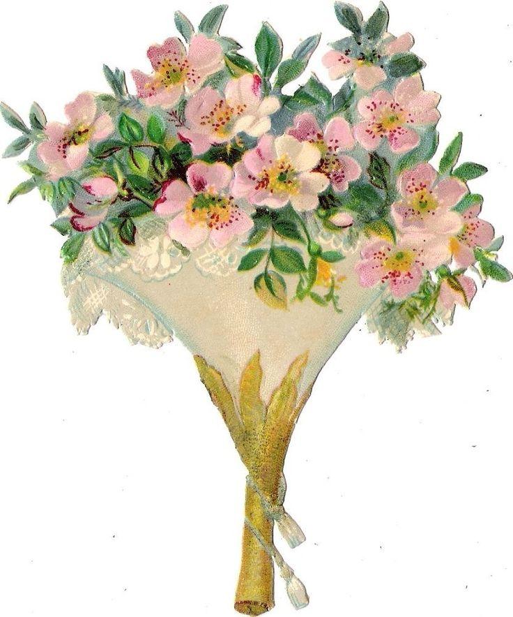 Oblaten Glanzbild scrap die cut chromo Blumen 13 cm  flower fleur Strauß