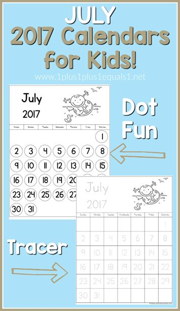 July Calendar Ideas : July calendars for kids organization ideas