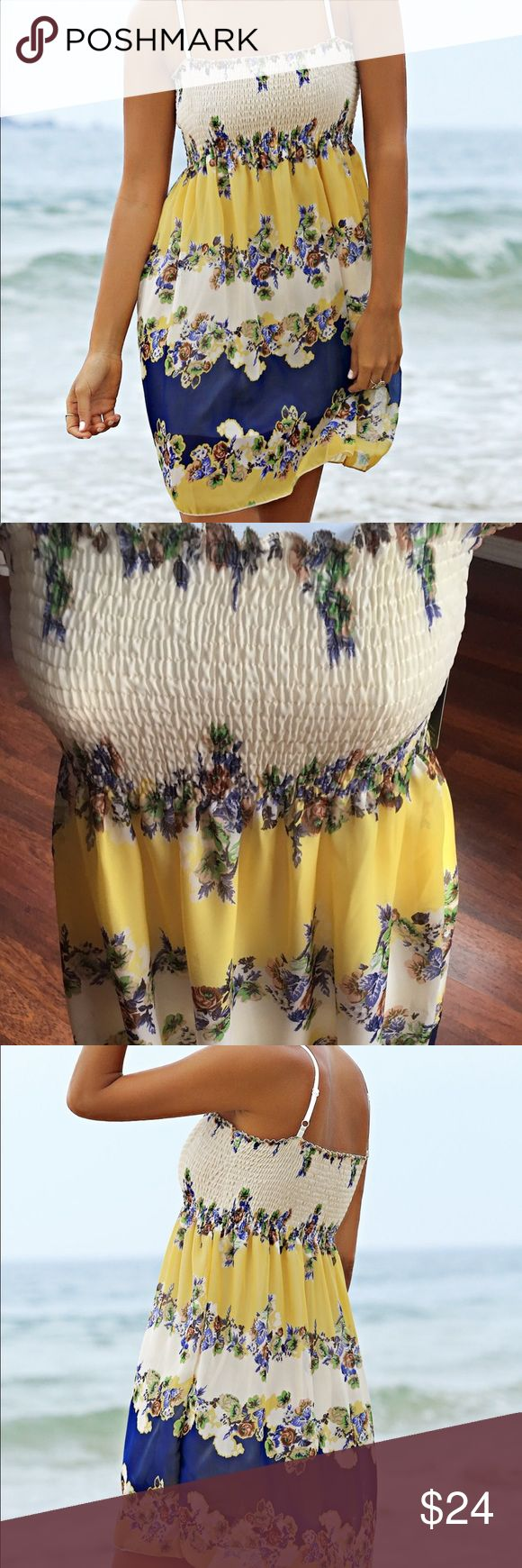 Spaghetti Strap Floral Print Color Block Dress Sweet perfect beach dress has floral print and spaghetti straps. Has that ruched across the chest and fits XS to M. Boutique brand, so it has boutique name on tag. Boutique Dresses Mini