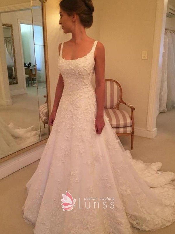 2529edff08c ivory satin and lace scoop neck wide straps simple A line wedding dress