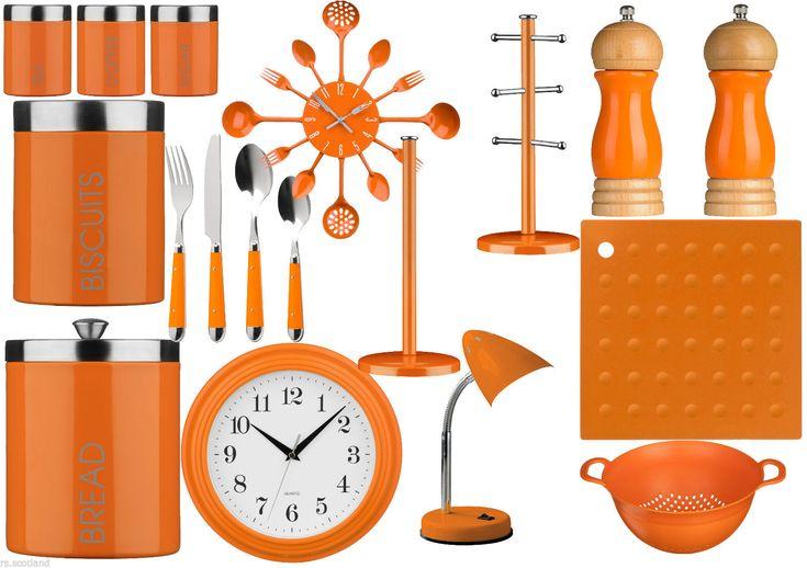 Orange Kitchen Storage Tea, Coffee,Sugar ,Cutlery Set, Clock And Accessories   Canisters & Jars   Food & Kitchen Storage - Zeppy.io