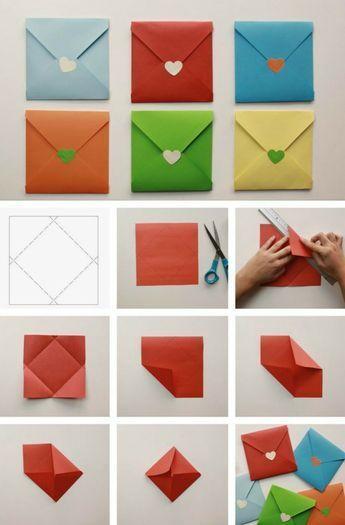Briefumschlag basteln in verschiedenen Größen & Formen – 12 DIY Ideen