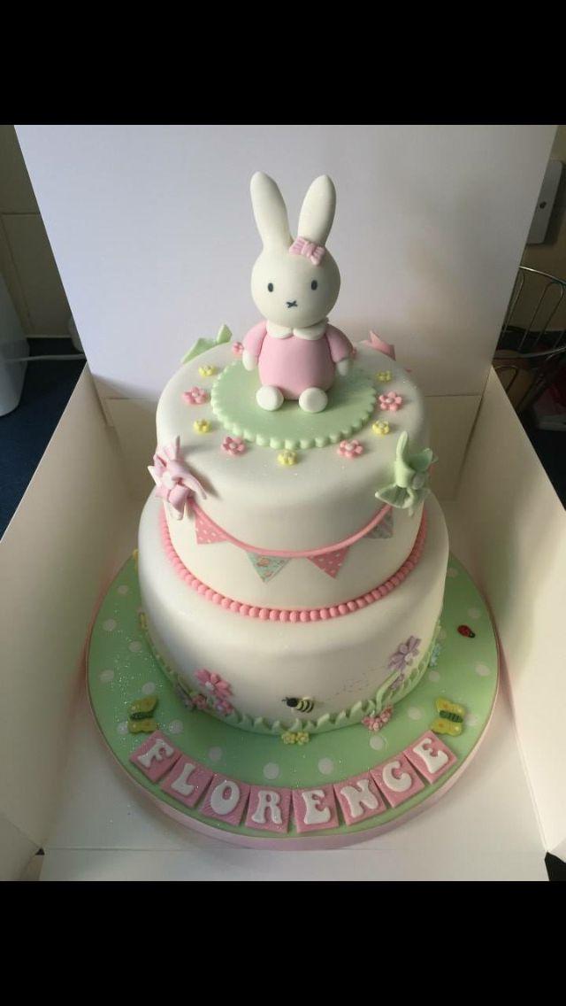 Miffy bunting christening cake