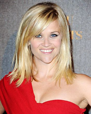 Reese Whitherspoon - medium length haircut bangs heart shaped face