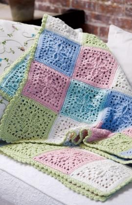 Refreshing Throw free Red Heart pattern - I like the squares - maybe as a purse if not a baby-ghan