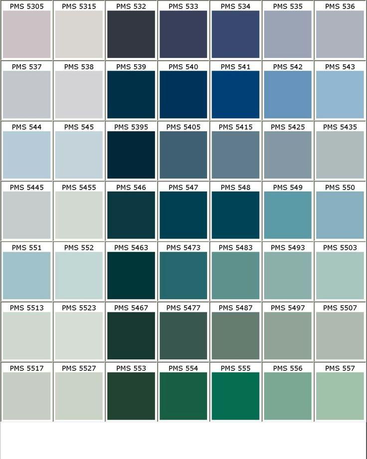 Nuancier PANTONE bleu/vert