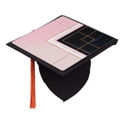 Modern Geometric Pink Gold Strokes Design Graduation Cap Topper   Zazzle.com - #design #geometric #graduation #modern