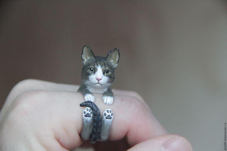 Купить Кольцо Кошка. Кольца с животными. Cat ring - разноцветный, кошка, Кошки, киски, котята