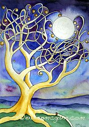 Moon Tree by Eileen McGann -- I love how the tree branches are hugging the moon.  :)