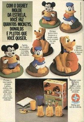 Moldes de gesso da linha Disney. Fiz vários. Pintá-los era parte integrante da diversão. Depois presenteava mãe, avó, tia...