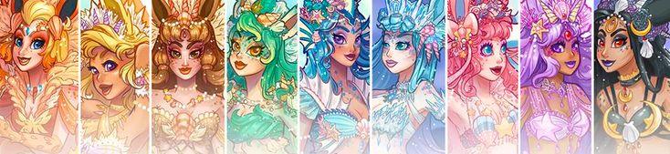 Temos que pegar! As Eevoluções já viraram bichinho de pelúciae foram até transformadas em vestidos! Com tanta evolução fofa, de um Pokémon mais fofo ainda, as homenagens são as mais criativas possíveis. Mas chegamos a um ponto, caras leitoras, onde o universo dos Pokémon foi unido aoutro universomágico e cheio de mistérios: a artista SunsetDragonimaginou…