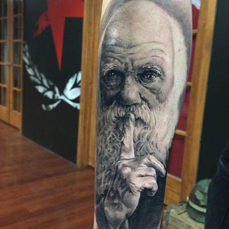 Charles Darwin Portrait tattoo by Pony Lawson