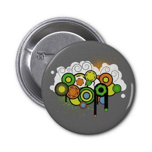 Trippy Cloud Customizable Pinback Button