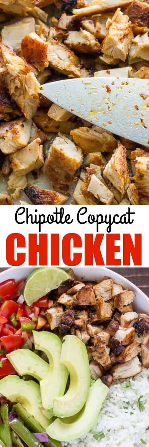 Make your own Chipotle Chicken recipe at home! This recipe yields 2 cups of… (Copycat Mexican Recipes)
