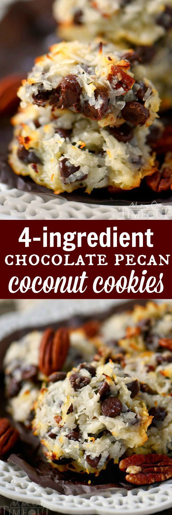 These delicious Chocolate Pecan Coconut Cookies take only 4 ingredients! Ooey gooey perfection that's impossible to resist! This easy recipe is one that you NEED to add to your repertoire! | eBay | #cookies