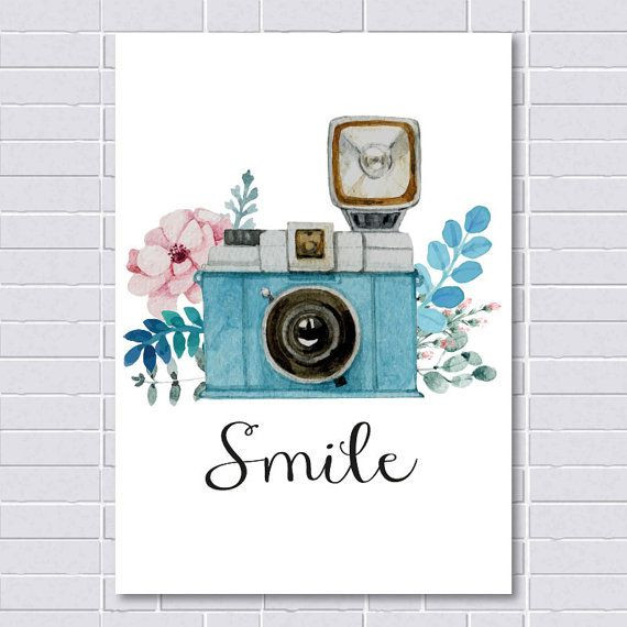 Smile Print Vintage Print Camera Print by printablelovers on Etsy
