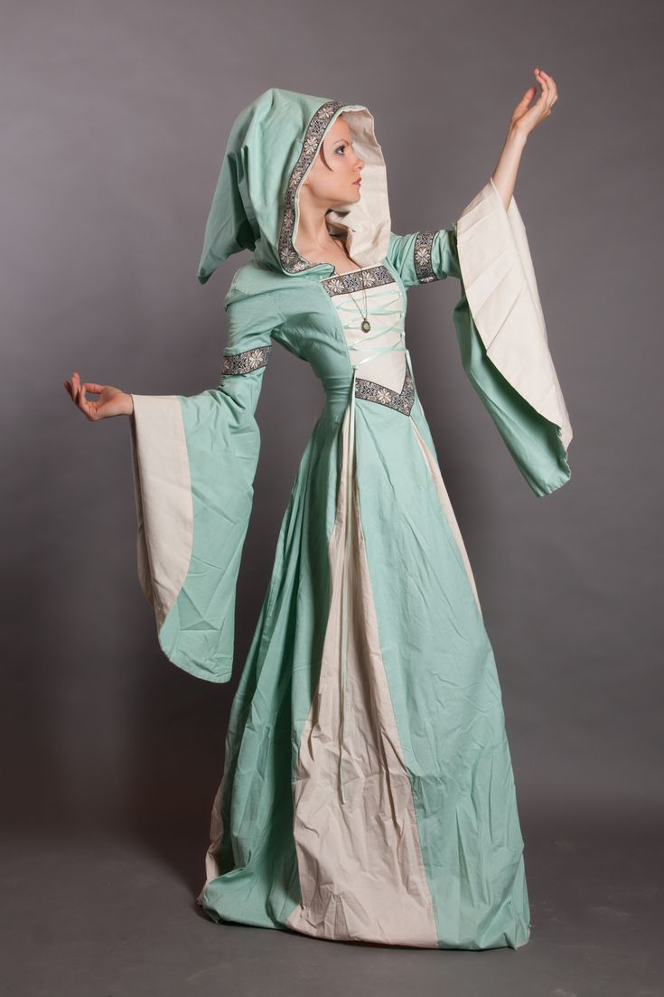 Another beautiful one piece Celtic gown with draped sleeves and attached hood trimmed in fine Celtic bordering