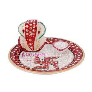 Designer Marble Pooja Thali With Lord Ganesha