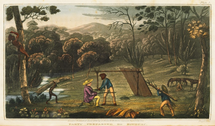 Party preparing to bivouac, 1826 / Artist unknown. From James Atkinson, An account of the state of agriculture & grazing in New South Wales, London: J Cross, 1826. Find more detailed information about this photograph:   http://www.sl.nsw.gov.au/events/exhibitions/2010/mari_nawi/04_exiles/image03.html#.  From the collection of the State Library of New South Wales: http://library.sl.nsw.gov.au/record=b2224158~S2