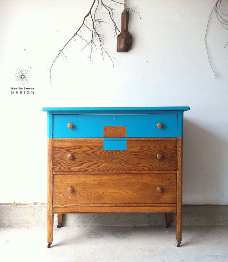 Tiger maple dresser in turquoise paint furniture for Furniture 0 interest financing