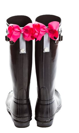 """Bows for Hunter Boots!  Magnetic PoppyClips for boots attach to any pair of boots. These """"Perfect Peony"""" Pink PoppyClips bows will let your personality shine through this cold and rainy season!"""