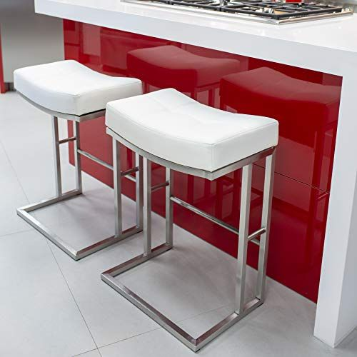 7a8229f1395a4 MIX Brushed Stainless Steel Faux Leather White 26-inch Seat Height ...
