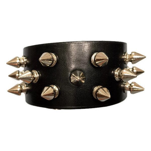 Spike bracelet, black bracelet cuff wristband with silver spikes,... ($20) ❤ liked on Polyvore featuring jewelry, bracelets, spikes jewelry, cuff jewelry, silver jewelry, silver cuff bangle and silver bangles