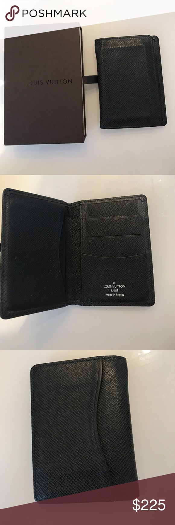 Louis Vuitton men's wallet Pocket organizer in black ardoise leather. In excellent condition but due to the softness of the leather the credit card shape is a bit outlined. Please see photo. A great buy !!! Louis Vuitton Accessories Key & Card Holders