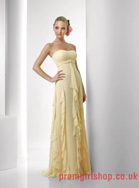 Strapless yellow long Bridesmaid Dresses PGBD0097