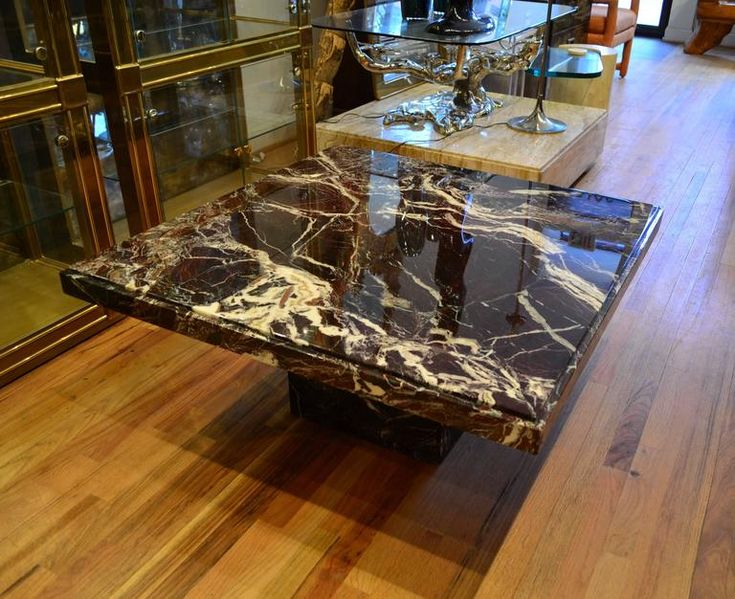 Italian Black Marble Square Coffee Table 3