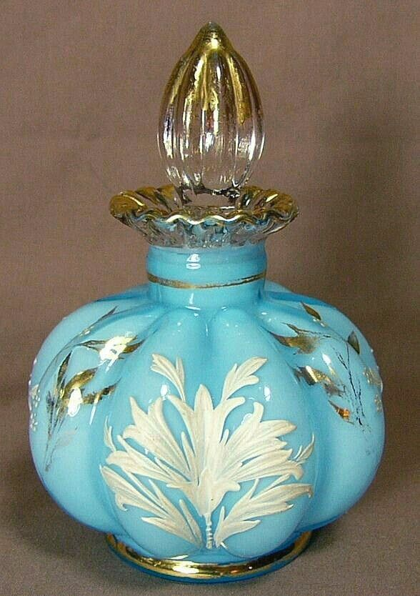 """Antique vintage Fenton Glass Blue Melon Rib Perfume Scent Bottle with Gold White Leaves and Trim. Height 4.5"""" including stopper"""