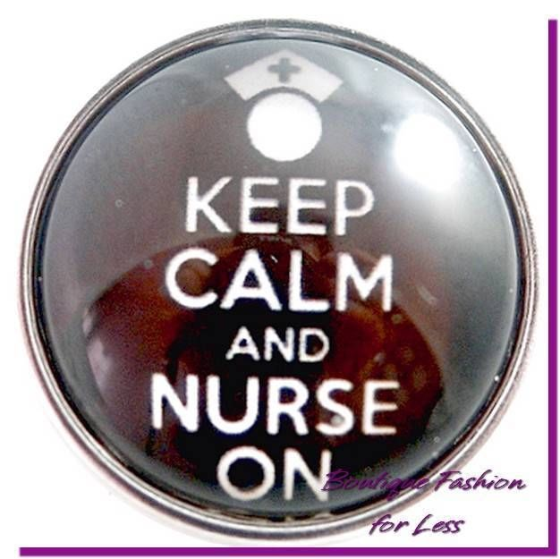 Snaps Snap Chunk Charm Glass Keep Calm and Nurse On Medical Interchangeable #PrivateLabel #StyleSnapsChunkSnapPopDesignerInspi
