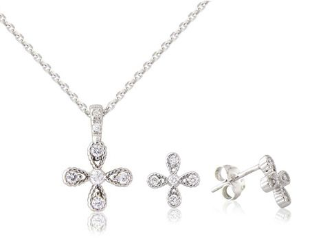 """Confetti & Lily"" Sterling Silver pendant and earring set"