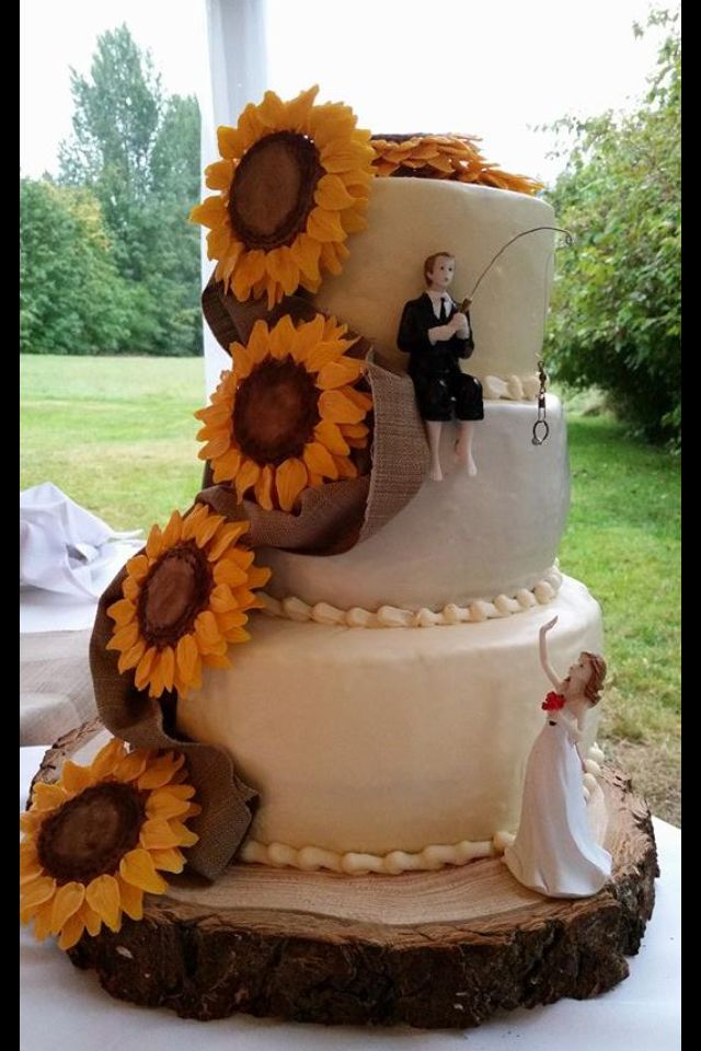 Sunflower wedding cake, burlap, fishing cake topper, bride and groom