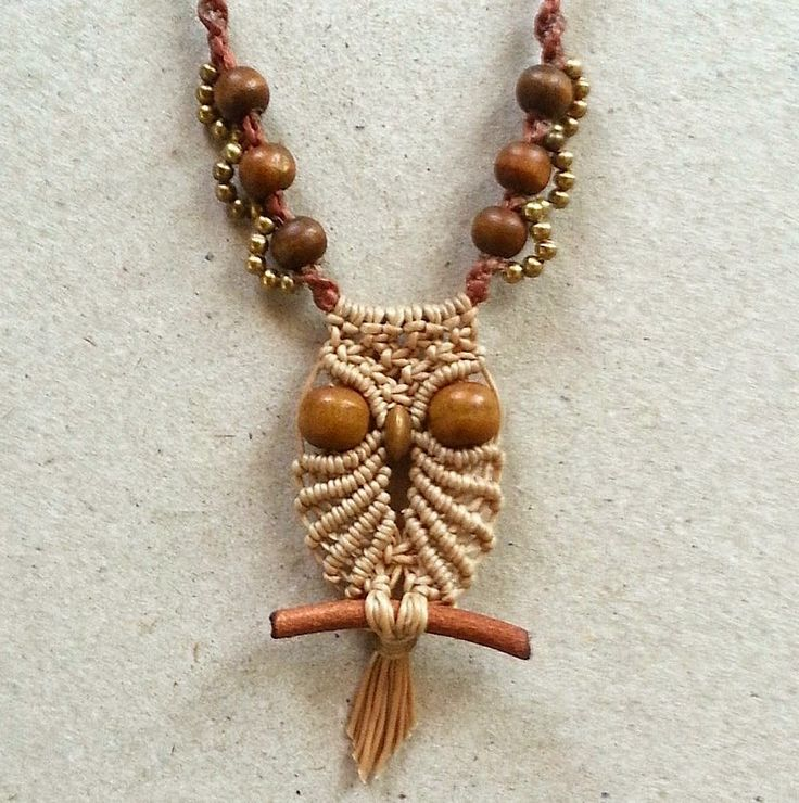 Ecocrafta: Small owl macrame necklace                                                                                                                                                                                 More