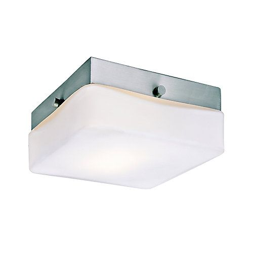 Transitional simplistic flush mount will add work area lighting to kitchen, closet, or hall. Fixture includes installation instructions, hardware and easily fits over existing ceiling openings to quickly replace existing flushmount. Suitable for damp locations. Perfect for bath, kitchen, and service porch areas. Halogen bulb(s) included.