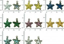 10pcs Czech Patina Antique Bronze Tone Starfish Marine Animal Sea Charms Pendant Bohemian Metal Findings 16mm x 12mm