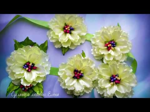 Flower Kanzashi Master Class DIY, Канзаши МК Лента в косу с большими цветами, - YouTube
