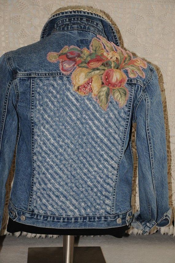 Venta OOAK reciclado dril de algodón chaqueta del dril de algodón chaqueta tamaño pequeño Upcycled Capezio