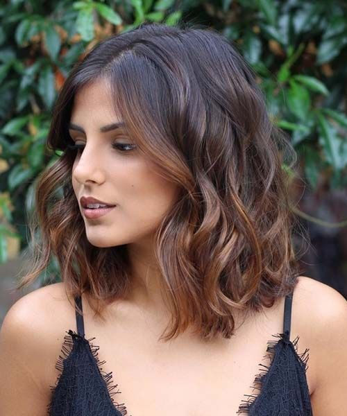 12 Of The Coolest Brunette Balayage Mid Length Wavy Bob