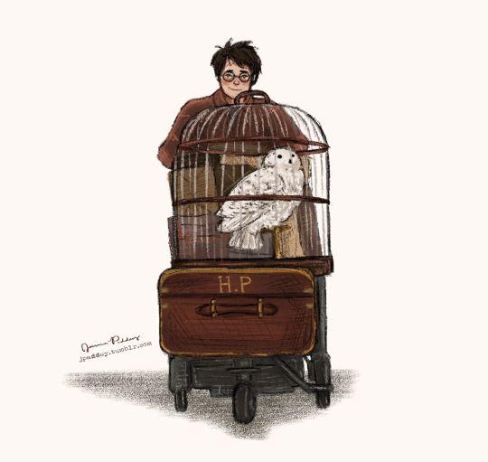 little Harry off to Hogwarts by jpaddey. Pinned by @lilyriverside