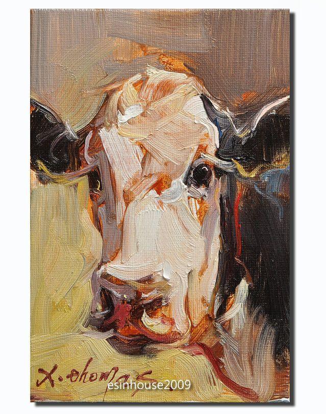 12x18cm Oil Painting Originals Cow portrait Animals farm impressionism art  #Impressionist